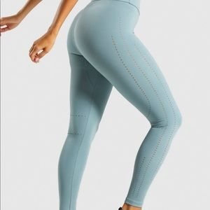 Gymshark laser cut tights stormy turquoise - small